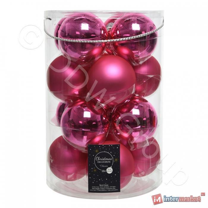 Шар стекло ярко-розовый глянц/матов d8см 16шт/уп